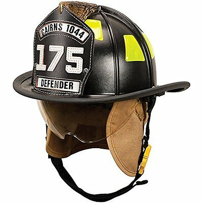 Hard Hats MSA 1044DSB Cairns 1044 Traditional Composite Fire Helmet with Black,