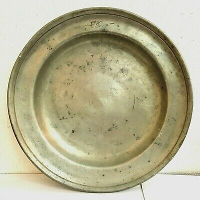 ANTIQUE 17th-18th CENTURY Pewter Tray Plate FROM GERMAN Colonial HUGE 11.8""