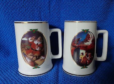 2 Coca Cola COKE 1996 Collector Edition Christmas Mugs, stein, Santa Claus