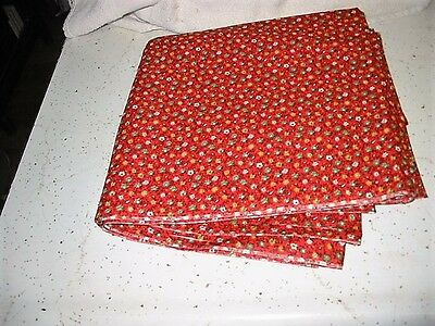 antique?vtg?cotton fabric-red/w/green flower-quilts?doll clothes-feed sacks?8yds