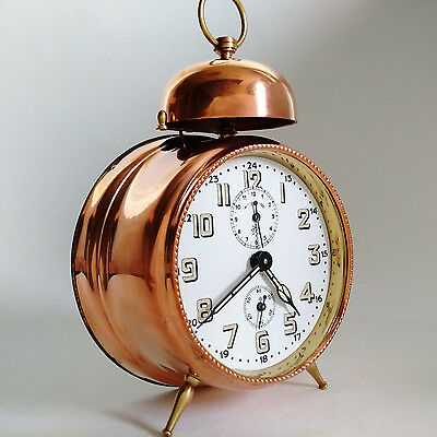 Junghans Alarm Clock Antique Wurttemberg Top Rare Red Copper Wind Up Mechanical