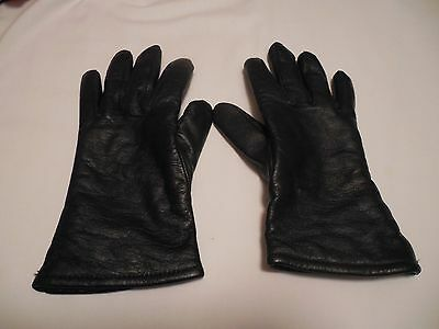 WOMEN'S LEATHER GLOVES-BLACK-SIZE 4C Lined 50% Polyester 50% wool