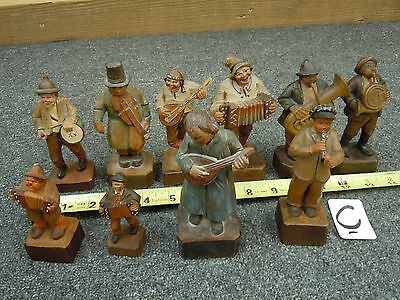 Lot C - (10) Carved Wood Wooden figure statue Minstrel musician Italy figurine