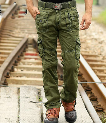 Mens Casual Overalls Military Army Trousers Green New Cargo Combat OutWork Pants
