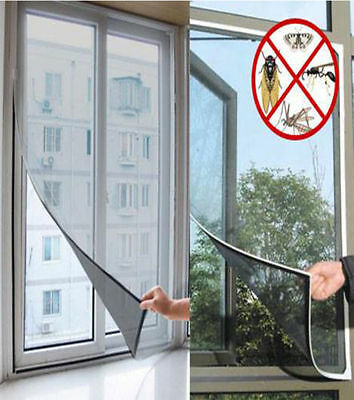 LARGE WINDOW SCREEN MESH NET FLY INSECT BUG MOSQUITO MOTH DOOR NETTING Black NEW