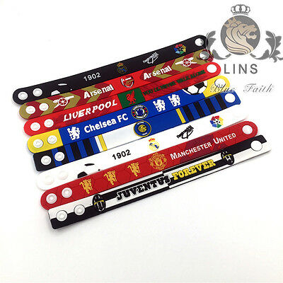 Football Liverpool Arsenal Real Madrid Chelsea AC hand Wristbands bracelet PVC