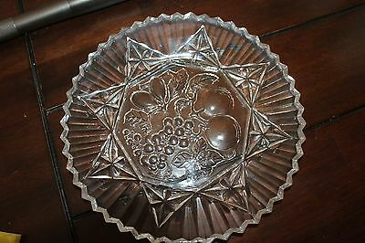 """Antique Vintage 11 """" Clear Pressed Glass Dish Sawtooth Edge"""