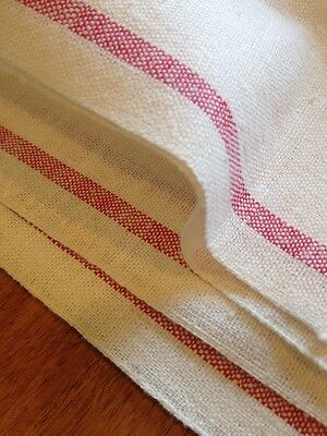 Vintage RED STRIPE Cotton Linen Homespun Toweling 8 YARDS by 17""