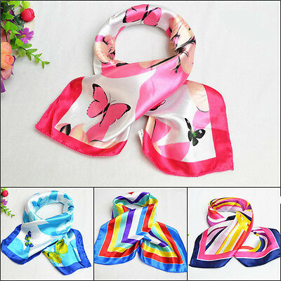 Ladies Square Silk Feel Satin Scarf - Small Vintage Head Neck Hair Tie Band fo