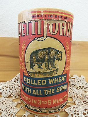 Antique Vintage Pettijohn's Rolled Wheat Cereal w/ Bear Nice Graphics