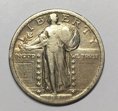 1917 25C Type 2 Standing Liberty Quarter VF Details