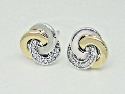 31ad4ca18 Authentic Pandora #290741CZ Interlinked Circles Stud Earrings with 14K Gold