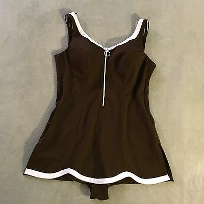 Shapemaid Vintage 1950's Swimsuit Brown 44 Pin-Up Rockabilly Bullet Bra QT