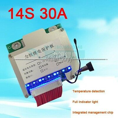 14S 48V Li-ion Lithium Cell 30A 18650 Battery Protection Board BMS w led Balance