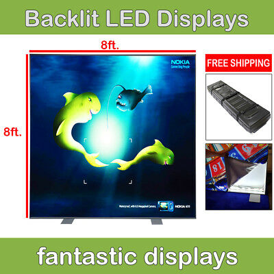 RADIANT 8ft Light Box Backdrop LED Backlit Trade Show Wall Pop Up Display Booth