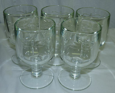 5 La Rochere France Dragonfly Wine Stem Glasses Goblets Clear Glass