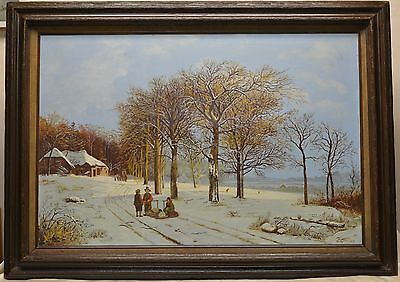"Vintage W. Geerling ""Snow in The Village"" Oil Painting (House of Props Estate)"