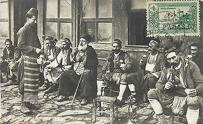 Turkey Scott 601 Tied To Front Of Photo Cafe Postcard. Men Smoking Water Pipe