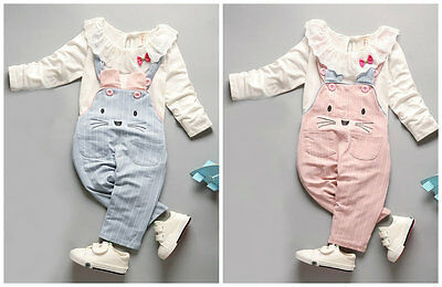 Baby clothes infant kids girls baby girls cotton lace top +bib pants girl cat