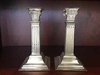 Antique Pair (2) Silver Candlesticks Candle Holders Corinthian Columns 1907