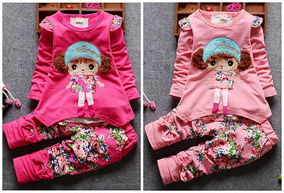 Baby clothes Toddler kids girls baby girls cotton lace top + floral pants girl