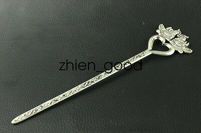 Chinese collection old Tibetan silver mandarin duck Hairpin CZQ1