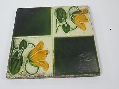 Vintage Antique Yellow Green Flower Ceramic 6x6 Pottery Display Art Tile Trivet