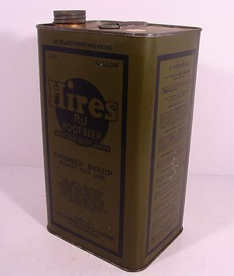HIRES ROOT BEER FINISHED SYRUP Military Olive Drab GALLON Pop Can PHILADELPHIA