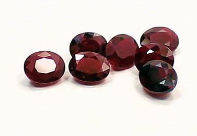 Colourful Collection of 7  Oval Cut  Red Ruby 3.28 Carats