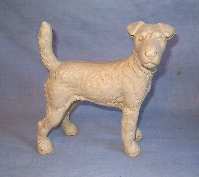 "Vintage Cast Iron Fox Terrier Doorstop 8"" x 9""  Antique White"