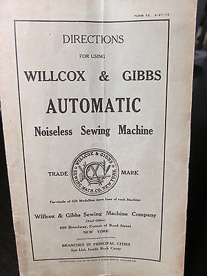 Wilcox and Gibbs Automatic Noiseless Sewing Machine Direction Manual