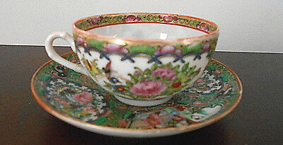 Antique Asian  Chinese Rose Medallion Cup And Saucer