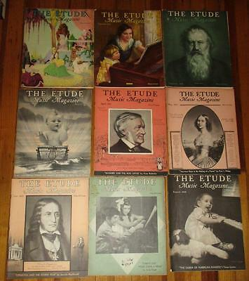 Lot of 17 Vintage The ETUDE Music Magazines - 1930s
