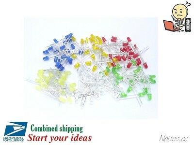 120 Pcs 3mm LED Light White Yellow Red Blue Green Orange Assorted Assortment Kit