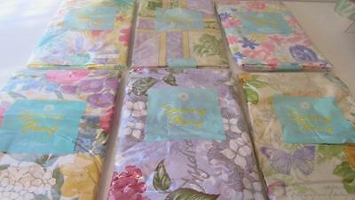 Vinyl Tablecloth Flannel Back Flowers Floral 6 Styles U Pick Spring Summer NEW