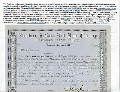 Stk-Northern Indiana RR 185- s/p John B. Jervis See Image #5 On Blue paper