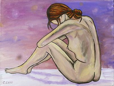 """11""""x14"""" Original Acrylic Art, Female Nude on Purple & Pink, Stretched Canvas"""