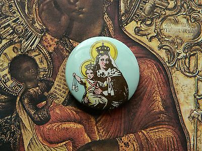 Religious Button Badge Pin Our Lady of Mt. Carmel Brown Scapular Pin