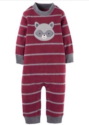 Baby Toddler Carters Boys Soft Fleece Raccoon Outfit Jumpsuit Sz 24m 2t