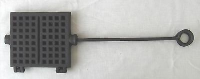 Antique CAST IRON  French Cookie WAFFLE PRESS Galette CAMPFIRE Hearth 487-2