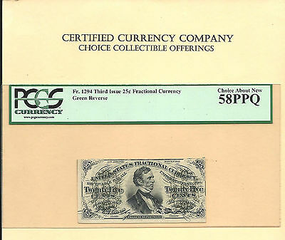 FR 1294 -25 Cents Fesseden Green Back Fractional Note PCGS Choice About New 58