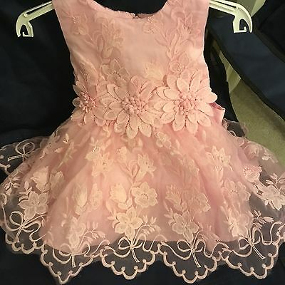 Baby Sun Dress Baby Girls Toddler Pink Embroidered Lace Glittering Party Summer