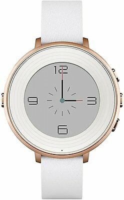 Pebble Round Rose Gold Smartwatch White Leather Smart Watch Apple Android Time