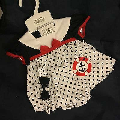 Newborn Baby Girls Dress Sailor Dress with knickers & Hair Band White Red & Blue