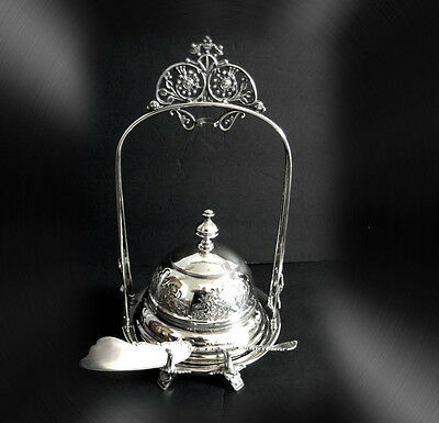 Silver plated butter dish server with insert and tall handle  FREE SHIPPING