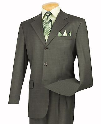 Men's Olive Windowpane Plaid 3 Button Classic Fit Suit w/ Notch Lapel NEW