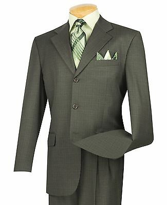 Vinci Men's Olive Green Windowpane Plaid 3 Button Classic-Fit Suit NEW