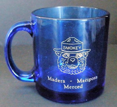 Smokey Bear Mug---Madera, Mariposa, Merced    Very Rare!!!   Cobalt Blue Glass