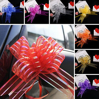 10Pcs Organza Ribbon Pull Bow Party Wedding Auto Car Decoration Gift Wrap Size L