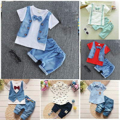 2pc Baby clothes kids boys cotton summer top Tee+short pants gentleman Multi